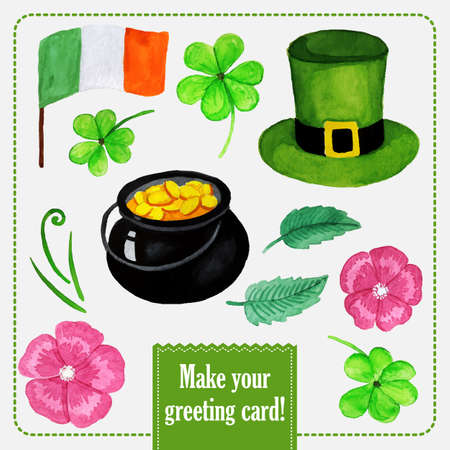 St.patrick day set for greeting card with hat, coins and clover Vector