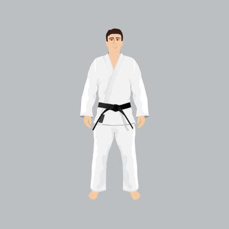 sport wear: Men in sport wear judo and jiu-jitsu Illustration