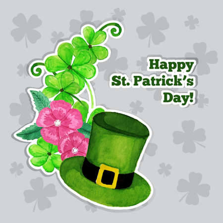 St.patrick day greeting card with hat, flowers and clover Vector