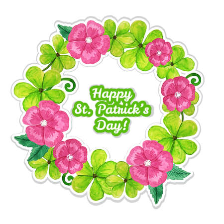 St.patrick day greeting card with flowers and clover Vector