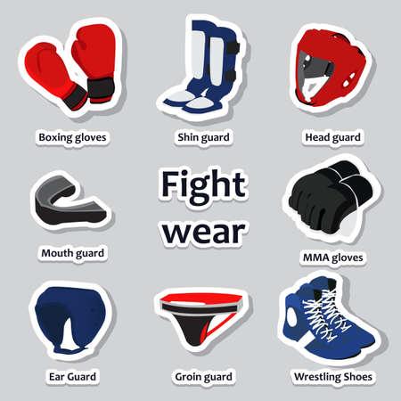 groin: Set of sport equipment for martial arts