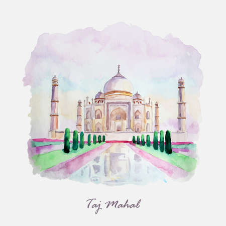 Watercolor Taj Mahal picture. India culture. Vector