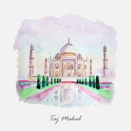 mahal: Watercolor Taj Mahal picture. India culture. Illustration