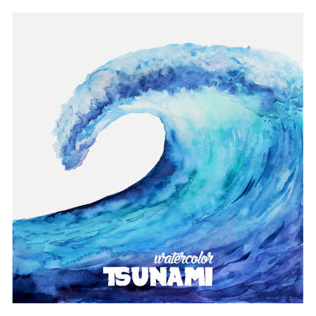 tsunamis: Watercolor ocean tsunami waves