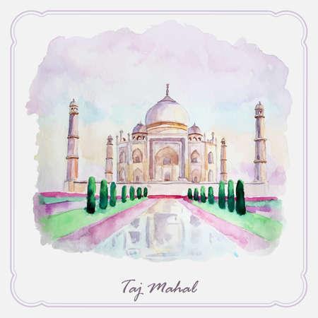mahal: Watercolor Taj Mahal picture. Greeting card