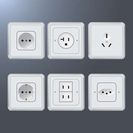ac voltage source: Set of electrical socket different contries