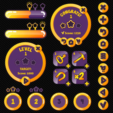 interface menu tool: Golden stylish game interface woth level completion