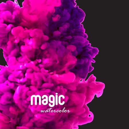 Magic watercolor swirling ink in water 向量圖像