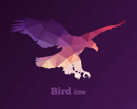 origami bird: Colorful animal icon of triangles eagle Illustration