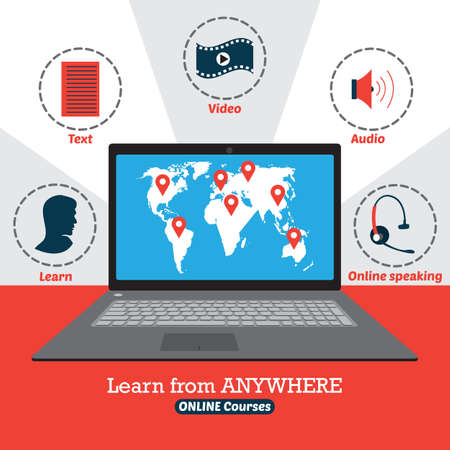 Infographic of online courses. Learn from anywhere Illustration