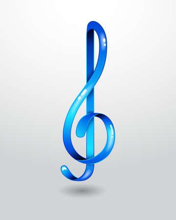 violinschl�ssel: Glas blau Violinschl�ssel