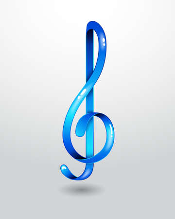 musically: Glass blue treble clef Illustration