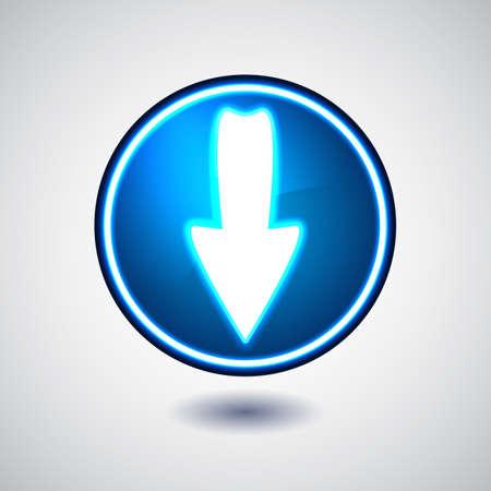 Blue illuminated download button