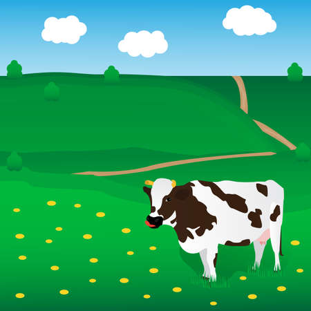 veal: Vector cow grazes on the meadow