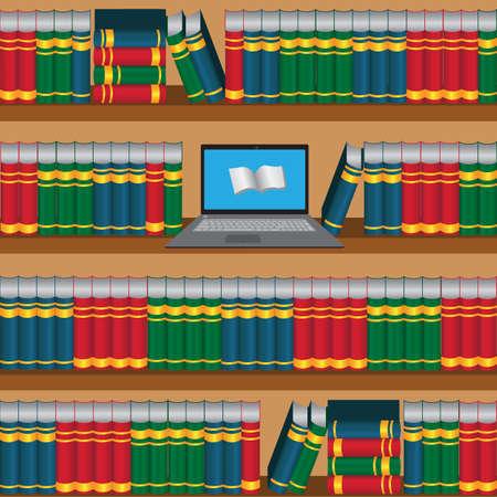 book shelf: Book shelf with laptop opened online lidrary