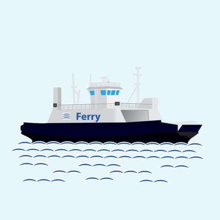 Sea train ferry boat. Big ship Illustration