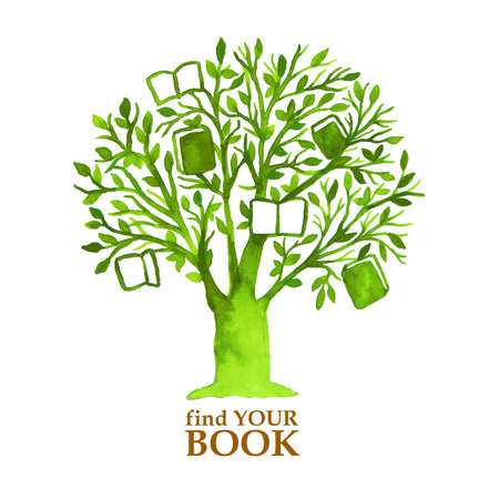 Watercolor green tree with hunging books