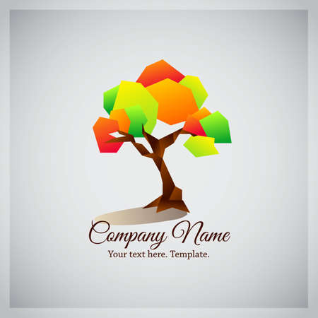 Company business logo icon with geometric colorful tree Ilustração