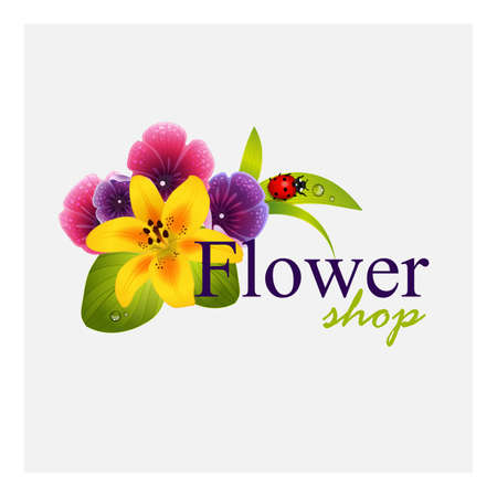 ladybug: Concept identity for flower shop. Floral composition as element of corporate style Illustration