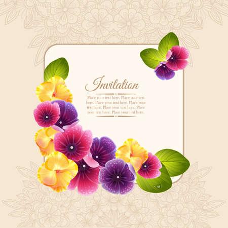 자연 꽃 화환의 다채로운 우아한 프레임입니다. 핑크와 보라색과 노란색 꽃과 초대 카드.