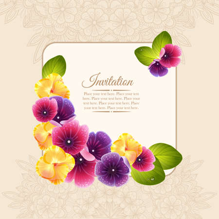 Colorful elegant frame of naturalistic flower wreath. Invitation card with pink and violet and yellow flowers.