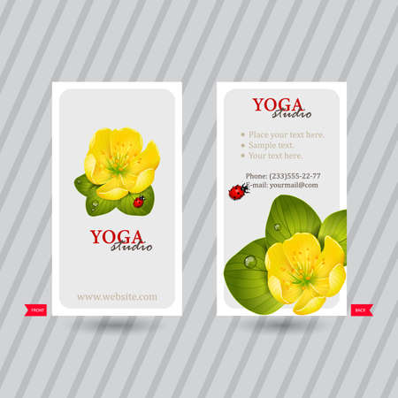 naturalistic: Business card with naturalistic floral composition for yoga studio or club. Vertical template