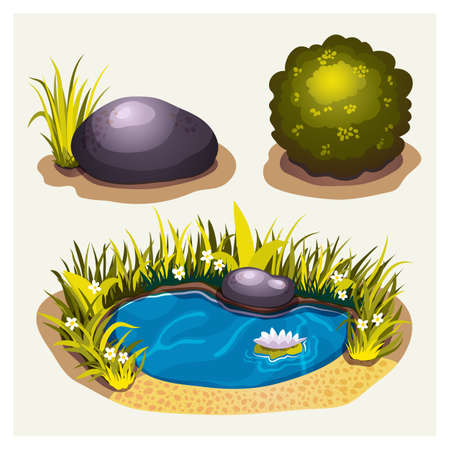 water lilly: Set of game environment elements with stone, bush and lake Illustration