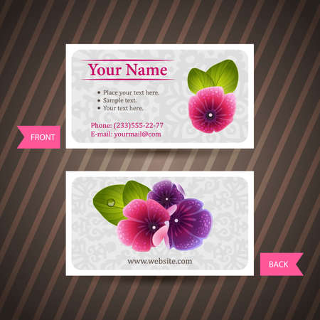 naturalistic: Business card with naturalistic floral composition of pink and violet flowers.