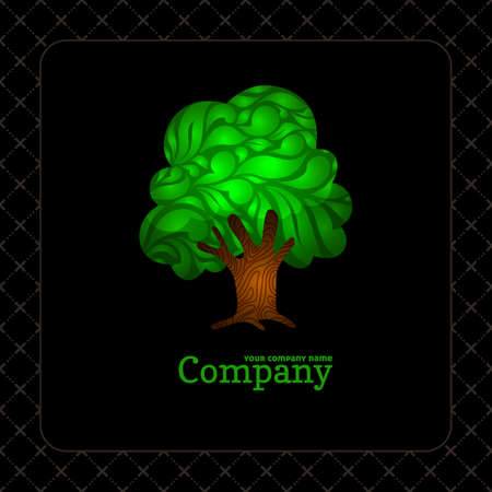 Company business icon with lace ornamental green tree