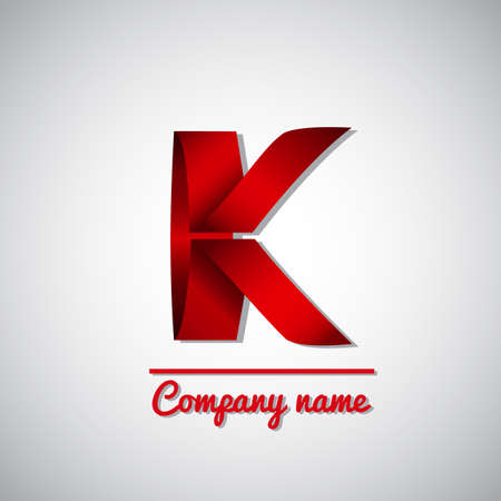 letter k: Icon of red paper business logo icon  letter k