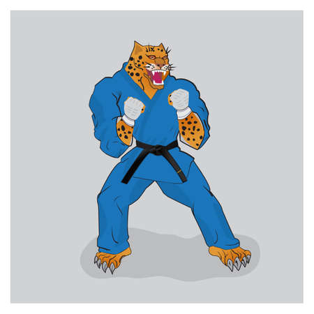 gi: Martial arts fighter leopard in the blue gi with black belt