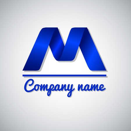 papier lettre: Ic�ne de papier bleu business ic�ne lettre m. le style Origami Illustration