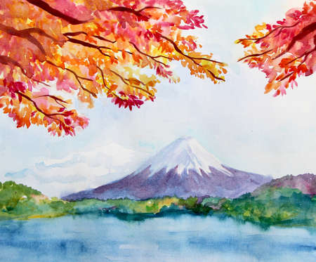 Watercolor landscape with mountain Fujiyama and maple tree. Autumn natural picture