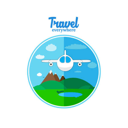 travel concept: Travel sticker of plane flaying under landscape  whith environment in flat style