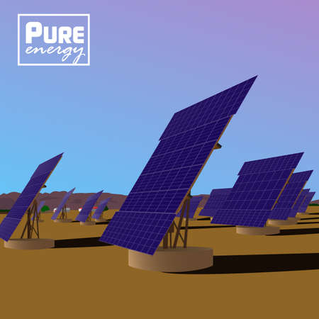 solar power plant: Solar power plant on desert landscape. Eco saving technology.