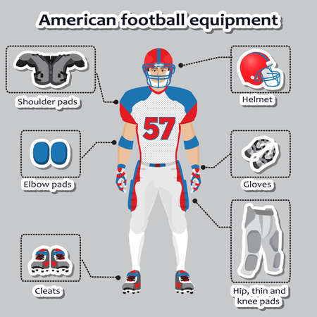 American football player equipment for training and competitions