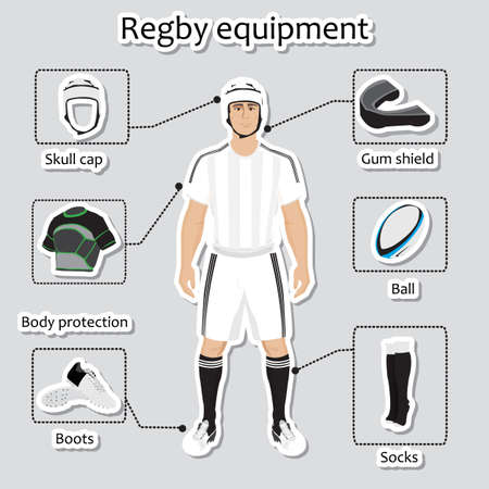 facemask: Regby player uniform and other sport equipment