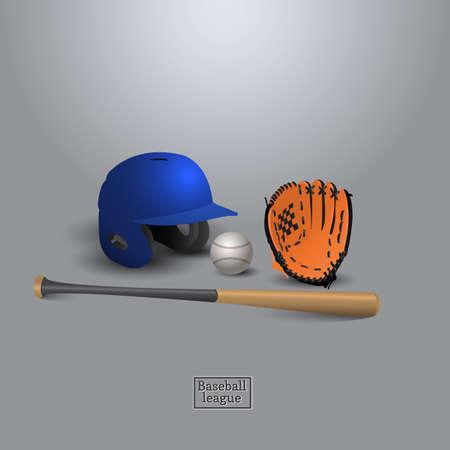 bit: Baseball helmet bit glove and ball eqiupment for playing