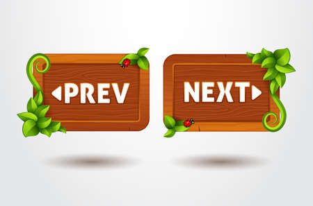 preview: Game interface buttons preview and next on wooden template with leaves. Cartoon style of ui panels Illustration