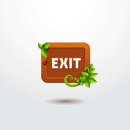 exit button: Game interface button exit on wooden template with leaves. Cartoon style of ui panels