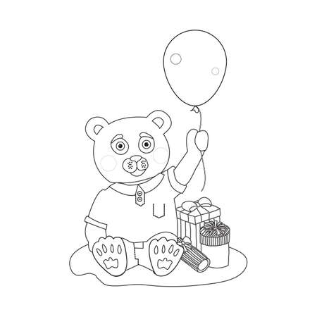 baloon: Toy bear with present boxes bow and baloon. Coloring page Illustration