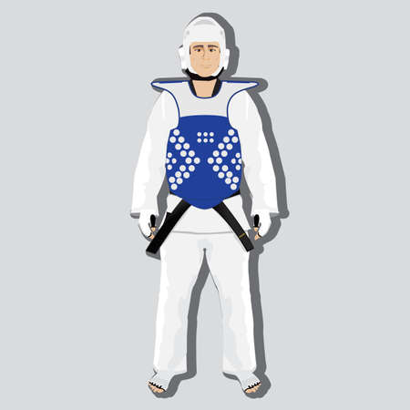 self training: taekwondo fighter and wear for competition