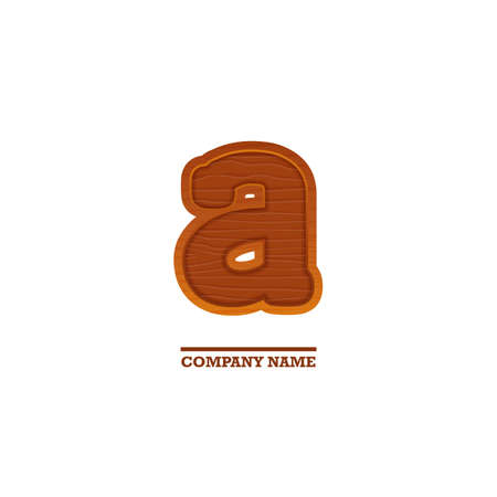 business letter: Wooden letter A, as for business. Nature template with wood texture Illustration
