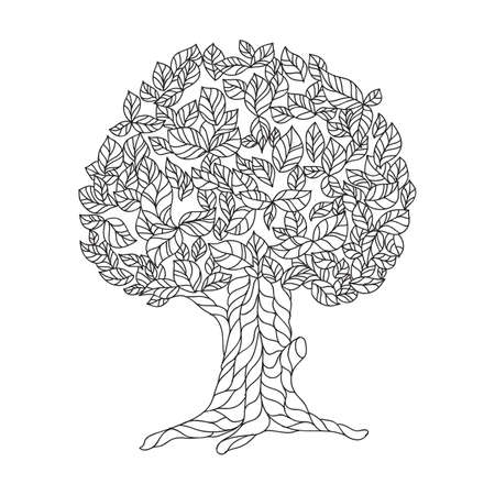 Page of coloring book with lace tree. illustration