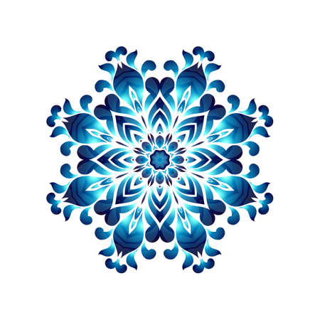 ethnics: Blue ukrainian painting style Petrikovka round ornament. Colorful watercolor wreath