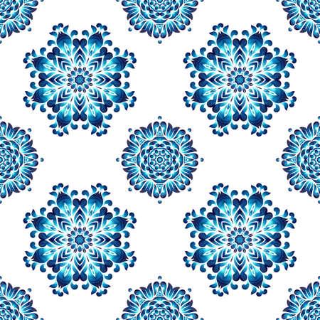 petrikovka: Blue ukrainian painting style Petrikovka seamless pattern of round ornament. Colorful watercolor wreath