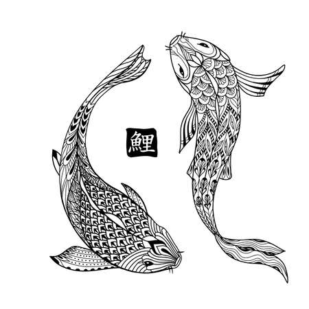 koi: Hand drawn koi fish. Japanese carp line drawing for coloring book. Doodle. Characters meaning carp