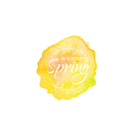 blot: Watercolor blot with text spring coming template. Brush stroke
