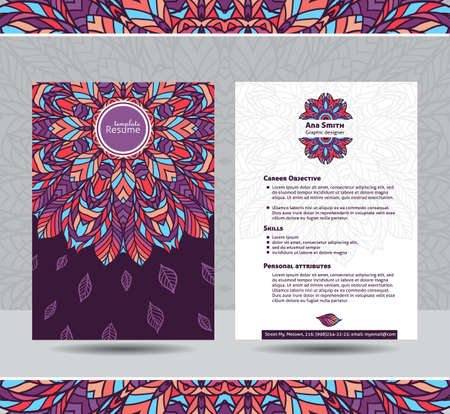 personal ornaments: Creative template for resume. Colorful round mandala ornament on both sides. Ready for use