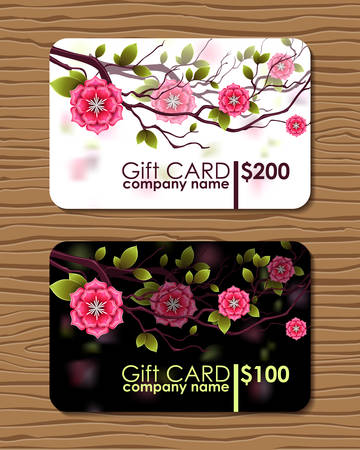 vouchers: Oriental designed gift card with branches of japanese cherry flowers.  Certificate for sale days. Chinese style.